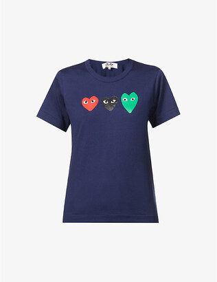 Comme des Garcons Colour-block logo cotton-jersey T-shirt