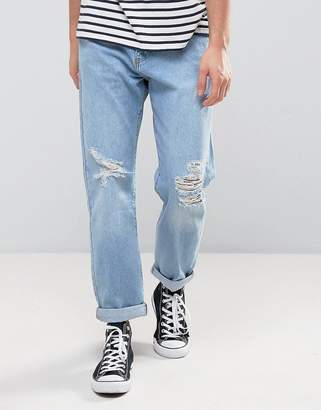 Zeffer Skater fit Jeans in Light Indigo Bleach Wash