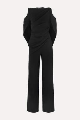 Talbot Runhof Pigalle Lace-paneled Draped Crepe Jumpsuit - Black