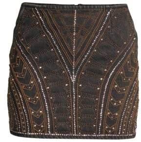 The Kooples Embellished Denim Mini Skirt