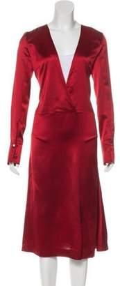 Maison Margiela V-Neck Midi Dress Red V-Neck Midi Dress