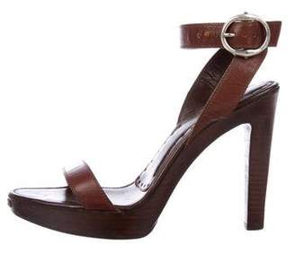 Saint Laurent Leather Ankle Strap Sandals