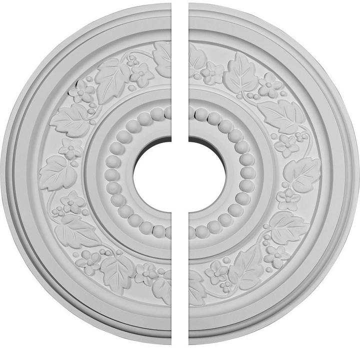 Ekena Millwork 16-1/8 in. O.D. x 3-1/2 in. I.D. x 5/8 in. P Marseille Ceiling Medallion (2-Piece)
