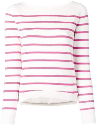 Blugirl back lace up striped knitted sweatshirt