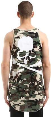 Oversized Skull Printed Jersey Tank Top