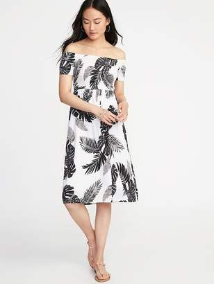 Old Navy Fit & Flare Off-the-Shoulder Midi Dress for Women