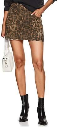 R 13 Women's Leopard-Print Denim Skirt