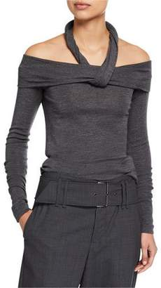 Brunello Cucinelli Off-the-Shoulder Wool Jersey Halter Top