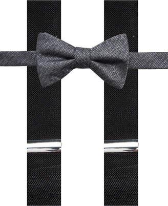 Alfani Men's Textural Pre-Tied Bow Tie & Suspender Set, Created for Macy's