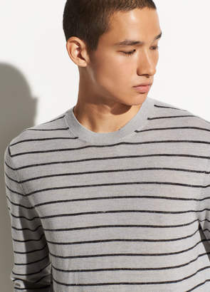 Striped Wool-Linen Crew