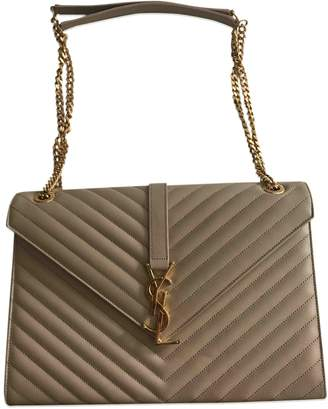 Saint Laurent Satchel monogramme Beige Leather Handbag