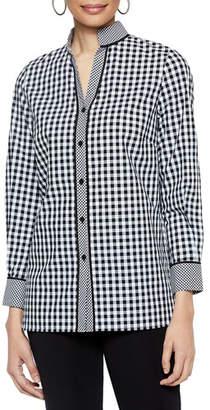 Misook Checkered Button-Up Stretch-Cotton Blouse w/ Mandarin Collar