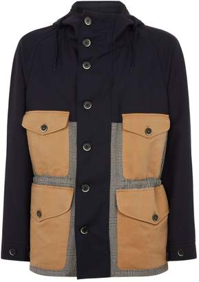 Barena Check Panel Hooded Jacket