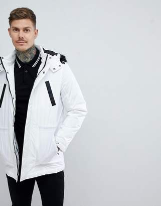 Asos DESIGN parka jacket with faux fur trim in white