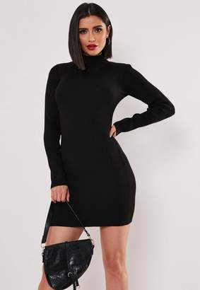 Missguided Black Basic High Neck Long Sleeve Sweater Dress