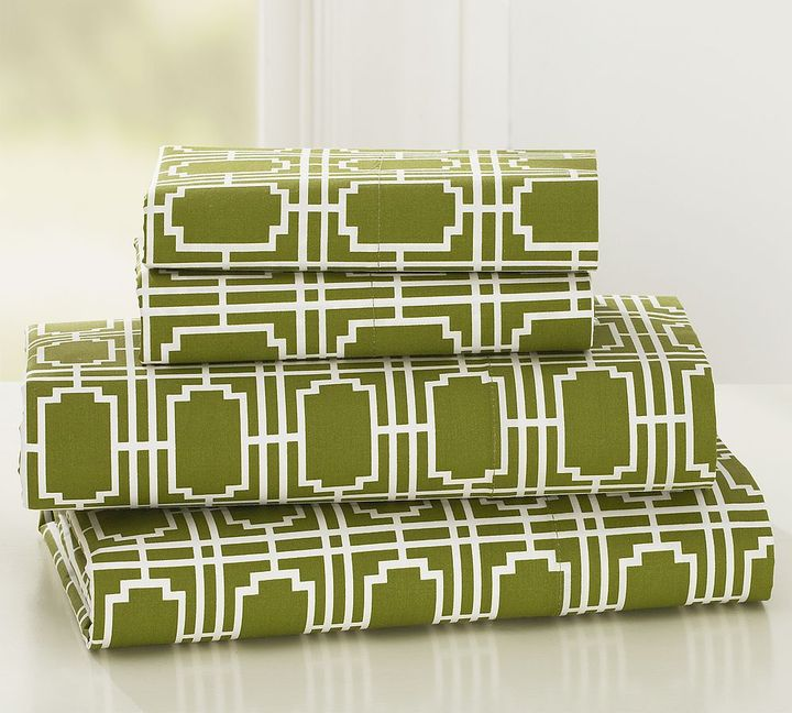 Grid Print Organic Sheet Set