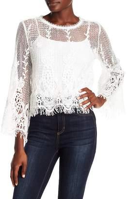ALLISON NEW YORK Crochet Flare Sleeve Blouse