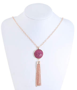 Liz Claiborne Womens Pink Round Pendant Necklace