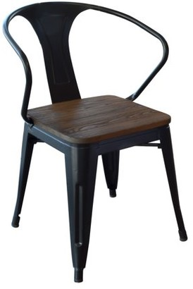 LOFT AmeriHome Black Metal Dining Chair with Wood Seat- 4 Piece