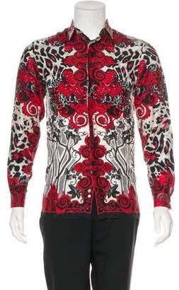 Versace Ornate Leopard Print Silk Shirt