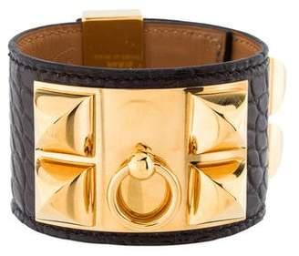 Hermès Crocodile Collier de Chien Bracelet