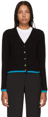 The Elder Statesman Black Cashmere Cropped Line Cardigan