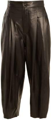 Natasha Zinko Pleat-detail wide-leg leather culottes