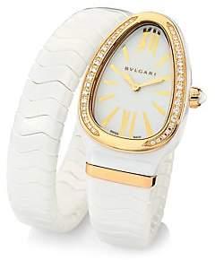 Bvlgari Women's Serpenti Spiga Rose Gold, White Ceramic & Diamond Single Twist Watch