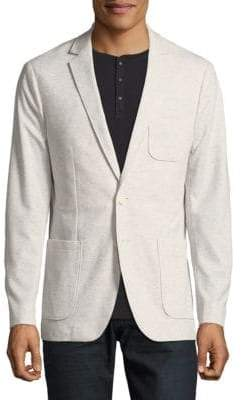 Calvin Klein Gris Two-Button Pique Interlock Jacket
