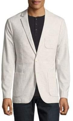 Calvin Klein Gris Two-Button Pique Interlock Jacket