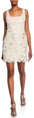 Aidan Mattox Embroidered Sequin Sleeveless Mini Sheath Dress