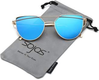 3a2fa6f1b5 at Amazon Canada · Cat Eye SojoS Mirrored Flat Lenses Street Fashion Metal  Frame Women Sunglasses SJ1001 with Silver Frame