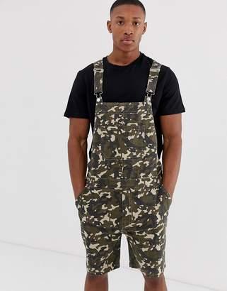 Asos Design DESIGN slim short overalls in camo print