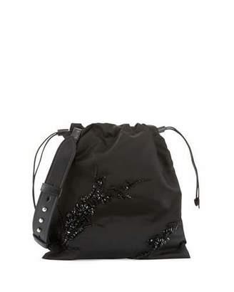 Prada Small Beaded Nylon Drawstring Pouch, Black (Nero) $1,550 thestylecure.com