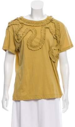 Dries Van Noten Ruffle-Accented Short Sleeve T-Shirt