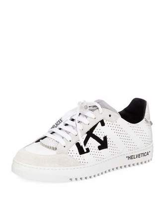 Off-White Men's 2.0 Perforated Leather & Suede Low-Top Sneakers, White