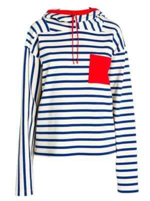 Marni Striped Contrast Pocket Hooded Top