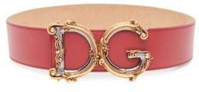 Dolce & Gabbana Barocco Logo Leather Belt