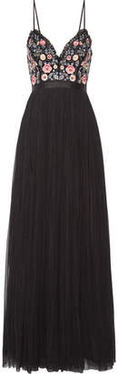 Needle & Thread Whisper Open-back Embellished Chiffon And Tulle Gown - Black
