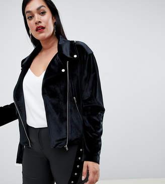 Missguided Plus velvet biker jacket in black