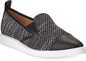 Karl Lagerfeld Paris Cler Metallic Woven Pointy-Toe Sneakers