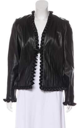 St. John Leather Ruffle Jacket