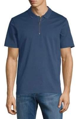 Vince Zip Short-Sleeve Cotton Polo