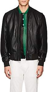 Paul Smith Men's Suede-Trimmed Leather Bomber Jacket - Black