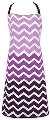 DII Cotton Ombre Chevron Women Kitchen Apron with Pocket and Extra Long Ties