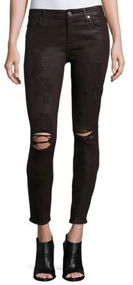 7 For All Mankind The Ankle Skinny Coated Jeans, Plum Destroyed $229 thestylecure.com