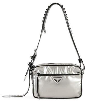 Prada Black Nylon Shoulder Bag with Studding 10ea3d6f1708f