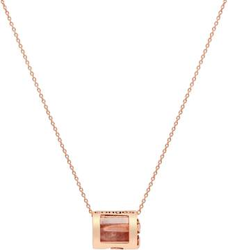 Conges Love & Positivity Rose Quartz Barrel Initial Necklace
