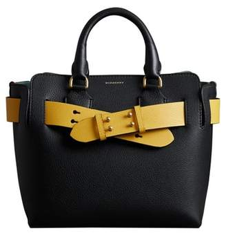Burberry Small Contrast Belt Leather Tote