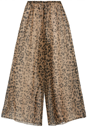 Rosamosario - Bossie Bye Leopard-print Silk-organza Pajama Pants - Leopard print